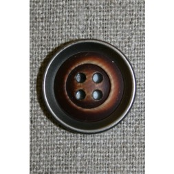 4-huls knap i plast med træ og gl.sølv-look mørk 22 mm.-20