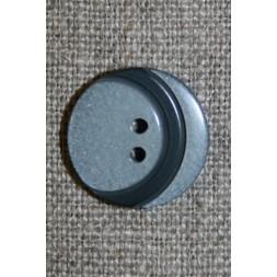 2-huls knap m/bue, lysegrå/mørkegrå 18 mm.-20