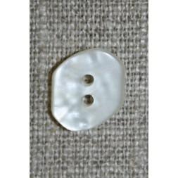 Off-white skæv 2-huls knap, 14 mm.-20