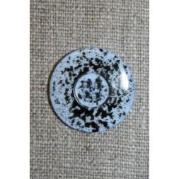 Knap m/pletter lyseblå/sort 23 mm.-20