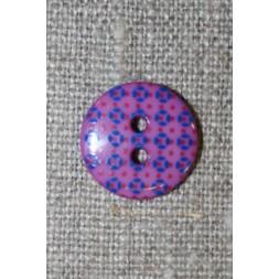 2-huls knap m/retro mønster lilla/rød/blå 15 mm.-20