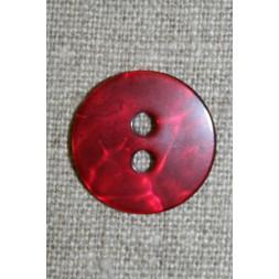 Rød blank, krakeleret knap, 20 mm.-20
