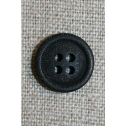 4-huls knap sort 15 mm.-20