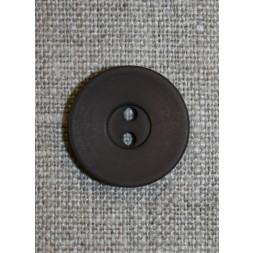 Mørkebrun 2-huls knap, 20 mm.-20