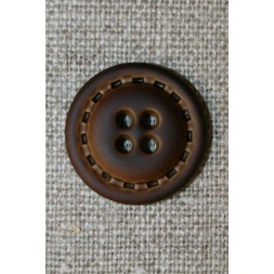 4-huls knap i læder-look brun, 20 mm.-20