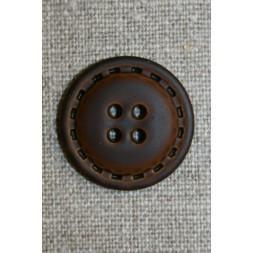 4-huls knap i læder-look brun, 25 mm.-20
