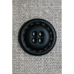 4-huls knap i læder-look sort, 20 mm.-20
