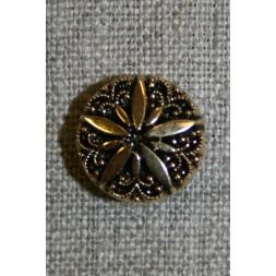 Knap Guld/sort m/blomst 15 mm.-20