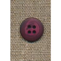 4-huls knap meleret hindbærrød 15 mm.-20