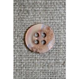 4-huls krakeleret knap beige/pudder 11 mm.-20