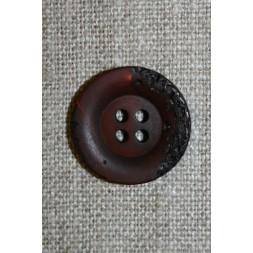 4-huls knap krakeleret mørkebrun, 20 mm.-20