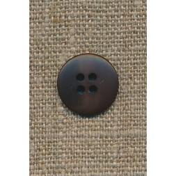 4-huls knap mørkebrun-meleret, 15 mm.-20