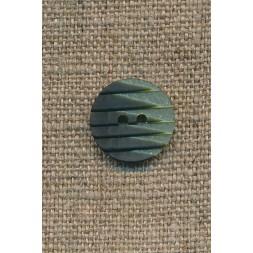 2-farvet knap m/riller grøn/mørkegrøn, 15 mm.-20
