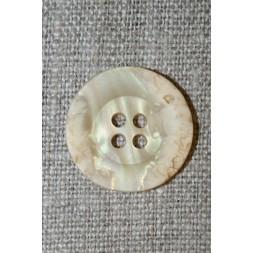 4-huls knap krakeleret creme, 20 mm.-20