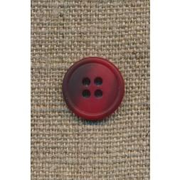 4-huls knap rød/mørkerød meleret, 15 mm.-20