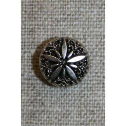 Rund knap m/blomst, sølv/sort, 13 mm.-20