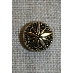 Rund knap m/blomst, guld/sort, 13 mm.-20