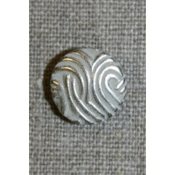 Rund knap mat sølv, 15 mm.-20