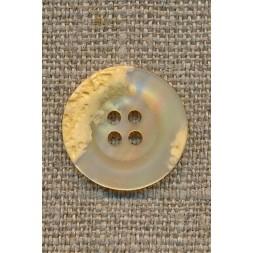 4-huls knap krakeleret lysegul/creme, 20 mm.-20