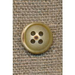 4-huls knap okker-lysebrun meleret 12 mm.-20