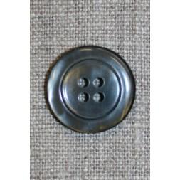 4-huls knap blank mørkegrå, 20 mm.-20
