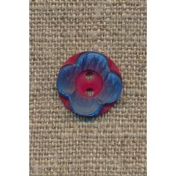 Blomster knap hindbærrød/blå-20