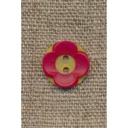Blomster knap gul/rød-20