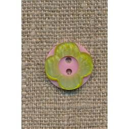 Blomster knap lyserød/lime-20