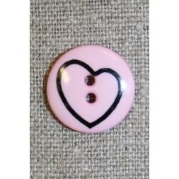 Knap m/hjerte lyserød/sort-20