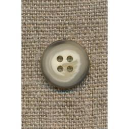 4-huls knap meleret creme/brun/lysegrå, 15 mm.-20