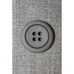 4-huls knap grå-brun m/sort kant, 20 mm.-20
