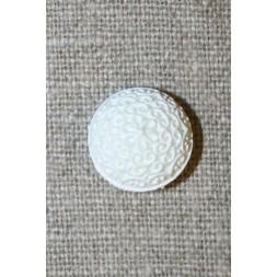 Hvid rund knap m/mønster, 15 mm.-20