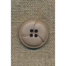 4-huls knap i læder-look, sand 23 mm.-20