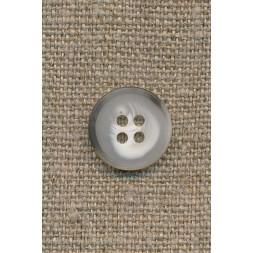 4-huls knap meleret hvid/lysegrå/grå-brun 15 mm.-20
