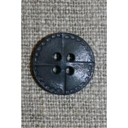 4-huls knap i læder-look, grå 15 mm.-20