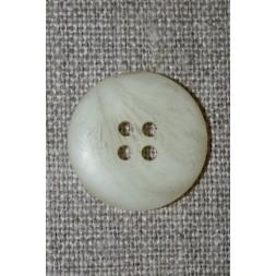 4-huls knap off-white meleret, 20 mm.-20
