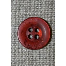 4-huls knap krakeleret brændt orange-rød, 15 mm.-20