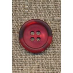 Rød knap m/mørk rød meleret kant, 18 mm.-20