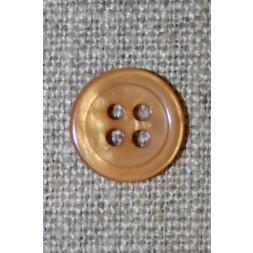 4-huls knap gylden/beige 13 mm.-20