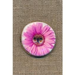 Kokos-knap m/emalje, hvid m/lyserød blomst, 34 mm.-20