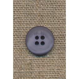 4-huls knap grå-meleret 15 mm.-20