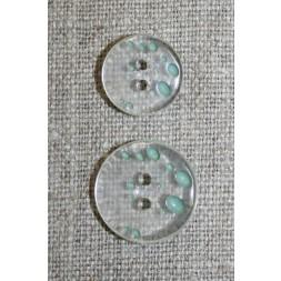 2-huls knap m/prikker klar/lys støvet grøn i 2 str.-20
