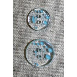 2-huls knap m/prikker klar/lys turkis i 2 str.-20