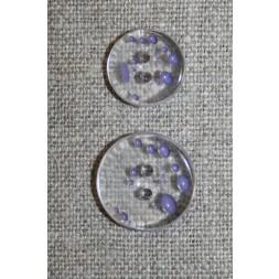 2-huls knap m/prikker klar/lyselilla i 2 str.-20