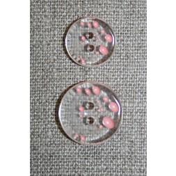 2-huls knap m/prikker klar/lyserød i 2 str.-20