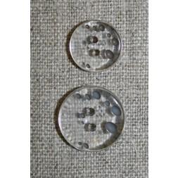 2-huls knap m/prikker klar/grå-brun i 2 str.-20