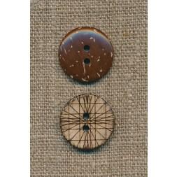 Kokos knap m/streger, 20 mm.-20
