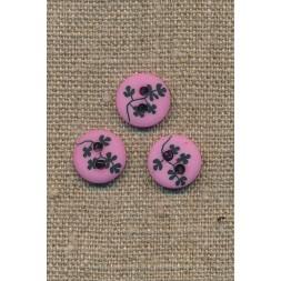 Pink/rosa 2-huls knap m/sorte grene, 13 mm.-20