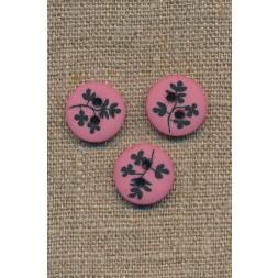 Pink/støvet rosa 2-huls knap m/sorte grene, 15 mm.-20