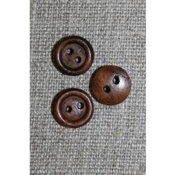 Lille brun 2-huls træ-knap, 10 mm.-20